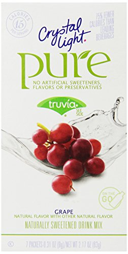 Crystal Light Pure Drink Mix, Grape, On The Go Packets, 7 Count (Pack of 6 Boxes) ()