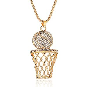 Best Epic Trends 41g8sety7eL._SS300_ 14k Gold Hiphop Rhinestone Basketball Necklace. Punk Basketball Chain Box Pendant Necklace Sports Rock Necklace for Men…
