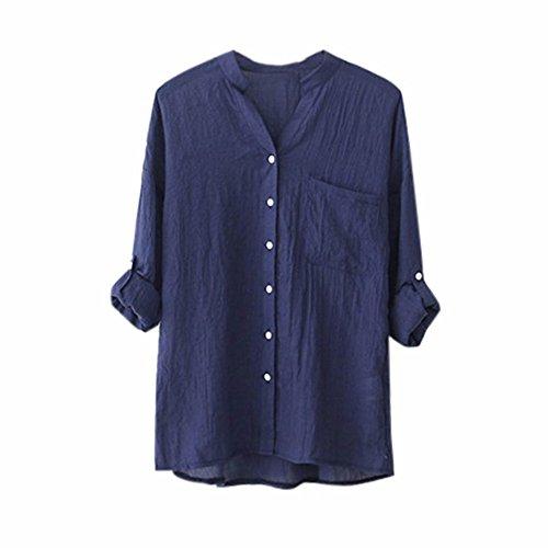 Simple Manche Sexy Unie Couleur Col V en Shirt Chemise Tops Chic Bleu Chemisier Boutonnage T Casual Longue Chic Femme Lache Chemise Blouse Chemise 1U1qdX