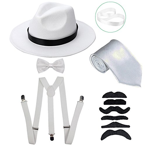 ZeroShop Men's Roaring 1920s Gangster Costume - Manhattan Fedora Hat,Suspenders Y-Back Elastic Trouser Braces & Pre Tied Bow Tie,Gangster Tie & Fake Mustache (WhiteHat & WhiteSuspenders) for $<!--$16.99-->
