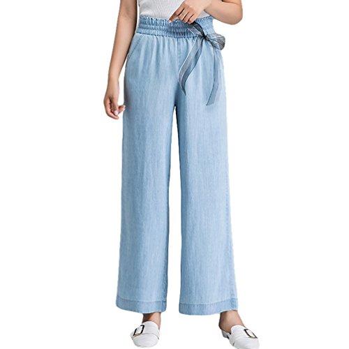 Xinwcanga Mujer Cintura Alta Flojos Vaqueros Casual Rectos Pantalones de Pierna Ancha Luz Azul