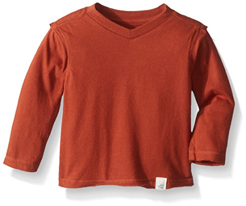 y Boys' T-Shirt, Long Sleeve V-Neck Crewneck Tees, 100% Organic Cotton, Nutmeg, 12 Months ()