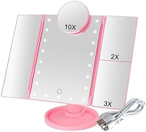 メイクアップミラー付きタッチスクリーン22 LEDライトバニティミラー、1X / 2X / 3X /調節可能な10倍拡大鏡柔軟化粧デュアルパワーサプライ (Color : Pink+10x)