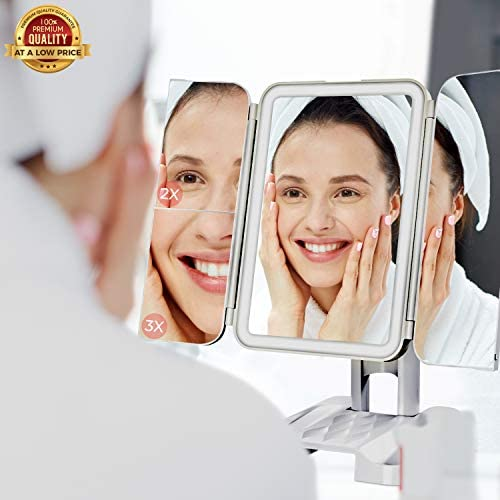Citadel Beauty Makeup Mirror with Lights - Led Mirror - Mirror with Lights and Magnification 68 LED Lights Trifold Makeup Mirror 3 Color Light Modes 1X 2X 3X