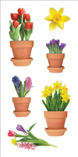 """Paper House Productions ST-2234E Photo Real Stickypix Stickers, 2"""", Spring Potted Flowers"""