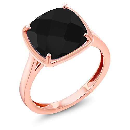 3.60 Ct Cushion Checkerboard Black Onyx 14K Rose Gold Ring - 14k Gold Black Onyx Ring