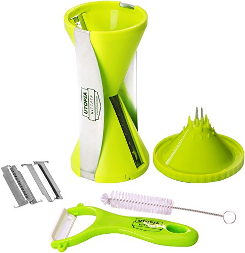 4 Blade Spiralizer - ABS Material - Planer & Flexible Brush - Rust-Free & Dishwasher-Safe - by Utopia Kitchen