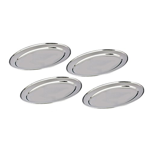 Kosma Set of 4 Stainless Steel Trays – Oval Serving Trays - Rice Plate in size 20 cm | Mirror Finish Oval ()