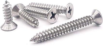 100 pcs Qrity M4 en acier inoxydable vis autotaraudeuses Phillips /à t/ête plate vis bricolage vis /à bois 100 PCS M4X30 mm