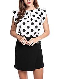 Meaneor Women Summer Chiffon Polka Dot Ruffle Sleeve Wear to Work Blouse Shirt