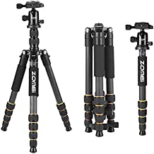 ZOMEI Q666C Carbon Fiber Tripod Lightweight Camera Tripod Monopod Heavy Duty Travel Tripod with 360 Degree Ball Head Compact for Canon Sony Nikon DSLR Cameras