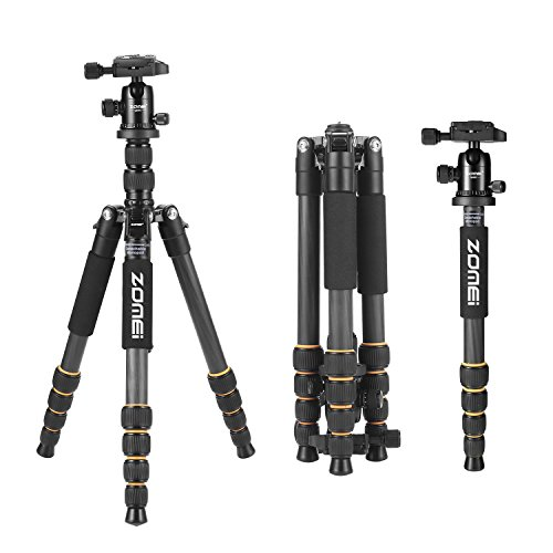 YESSBON ZOMEI Carbon Fiber Q666C Tripod Heavy Duty Lightweight Travel with 360 Degree Ball Head Compact for Canon Sony