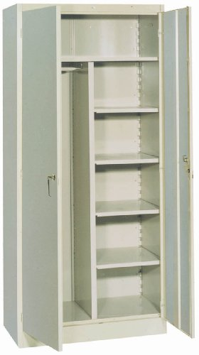 (Lyon PP1099 1000 Series Combination Wardrobe Cabinet with 1 Full Shelf and 4 Half Shelves, Steel, 36