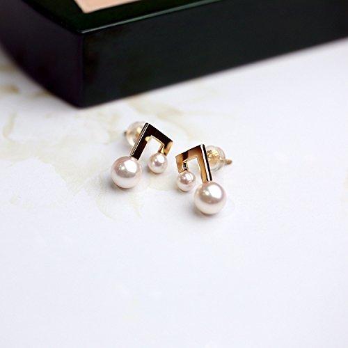 18K Yellow Gold Akoya Pearl Earrings Studs Musical Note Round Pearl Stud Earrings Seawater Saltwater Japanese Akoya Pearls Music Note Earrings Studs