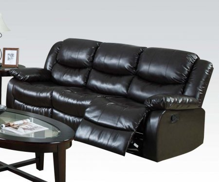 Acme Furniture 50560 Fullerton Motion Sofa with Recliner Mechanism Plush Padding and Bonded Leather Upholstery in
