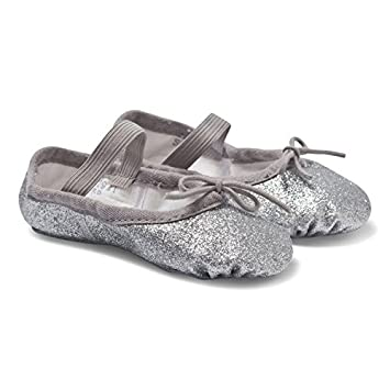 bc98934c6 BLOCH SILVER Talullah Girls party Glitter Ballet pumps slippers ...