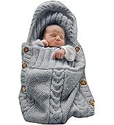 XMWEALTHY Newborn Baby Wrap Swaddle Blanket Knit Sleeping Bag Receiving Blankets Stroller Wrap fo...
