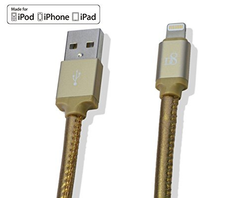 D8 USB 3.2 Ft Apple MFI Certified Tangle-Free Lightning to USB Cable for iPhone 6S/6 Plus/5s/SE/5C/5/iPad Air/Mini/Pro/4th/iPod, Gold