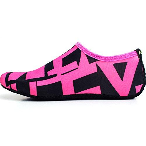 WOWFOOT Barfuß Wasserhaut Schuhe Socken Frauen Männer Flexible Schwimmen Schuh Strand Aqua Surf Pool Yoga Übung Rosa (Muster)