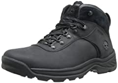 Uppers made with premium 100% full-grain waterproof leather for durability. Waterproof, seam-sealed construction keeps feet dry. Fully gusseted tongue keeps out debris. Compression-molded EVA midsole and footbeds provide lightweight cushionin...