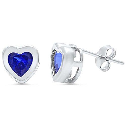 Tanzanite Bezel Heart Stud .925 Sterling Silver Earrings