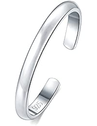 925 Sterling Silver Toe Ring, Hypoallergenic Adjustable Band Ring 2-4mm