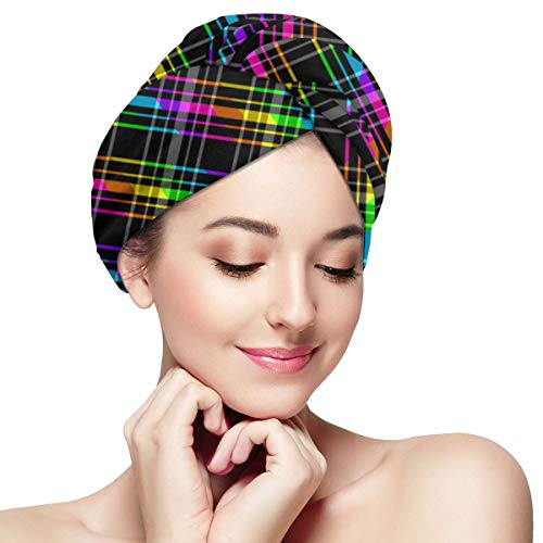 SHARP-Q Dazzle The Color of The Buffalo Stripes Womens Swim Cap Dry Hair Cap Bathing Turban-Polyester Twisted Pleated Turban Head Cover ()