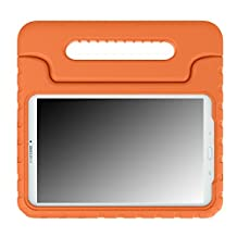 MoKo Tab E 9.6 Case - EVA Kids Shock Proof Convertible Handle Light Weight Cover for Samsung Galaxy Tab E / Tab E Nook 9.6 Inch 2015 Tablet (Fit Both WiFi and Verizon 4G LTE Version), ORANGE