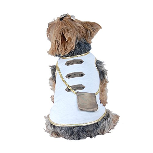 [White and Gold Cotton Dog Pet Costume Shirt [FOR SMALL DOGS] (X-Small)] (Pomeranian Costume)