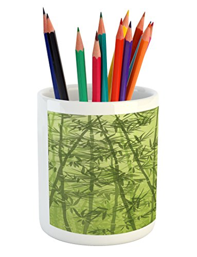 Ambesonne Exotic Pencil Pen Holder, Tropical Forest Rainforest Jungle Paradise Ecology Feng Shui Spa, Printed Ceramic Pencil Pen Holder for Desk Office Accessory, Pistachio Green Fern Green by Ambesonne (Image #3)