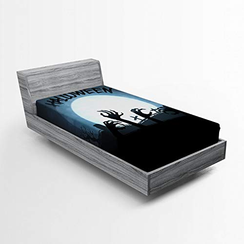 Lunarable Halloween Fitted Sheet, Spooky Zombie Hands Out Grave Rise from Dead Fiction Fantasy Party Theme Print, Bed Cover with All-Round Elastic Deep Pocket for Comfort, Twin Size, Blue Black