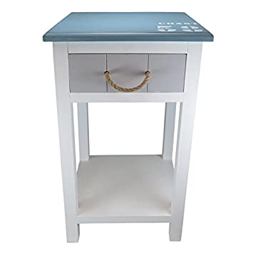 DOWNTON INTERIORS Vintage Blue White Nautical Bedside Side Table Rope  Detail (Q8735) **
