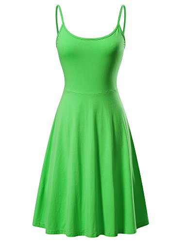 VETIOR Women's Sleeveless Adjustable Strappy Flared Midi Skater Dress (Medium, Grass Green) -