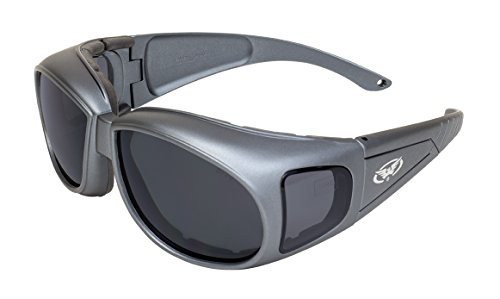 Global Vision Eyewear Outfit Char MET SM A/F Safety Over Prescription Sunglasses, Metallic Charcoal -