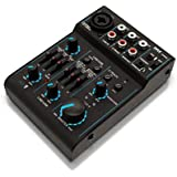 Pyle Bluetooth 3-Channel Mixer DJ Controller Audio Interface, 18V Phantom Power Supply