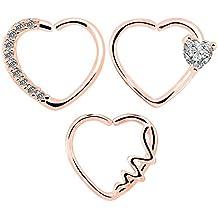 OUFER 3Pieces 18KT Rose Gold Clear Heart Daith Earrings Cartilage Earring Hoop 16Gauge (1.2mm)