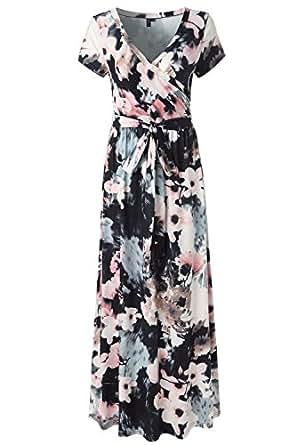 KRANDA Womens Vintage Floral Print Short Sleeve Maxi Long Party Dress