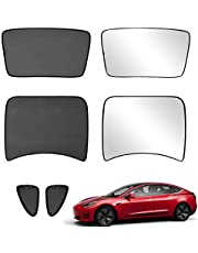 Xipoo Fit Tesla Model 3 Sun Shades Glass Roof Sunshade Sunroof Rear Window Sunshade Foldable for Tesla Model 3 Accessories Upgrade Two-Layer 6 Pcs (Black, Model 3 Half Cover)