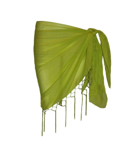 Plain Half Green Cotton Sarong With Tassels