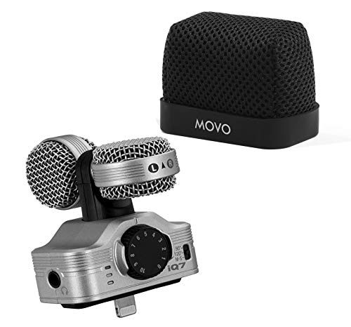 Zoom iQ7 Mid-Side Stereo Recording Microphone Compatible with iOS/Lightning Devices with Movo Superior Fitted Nylon Windscreen Bundle