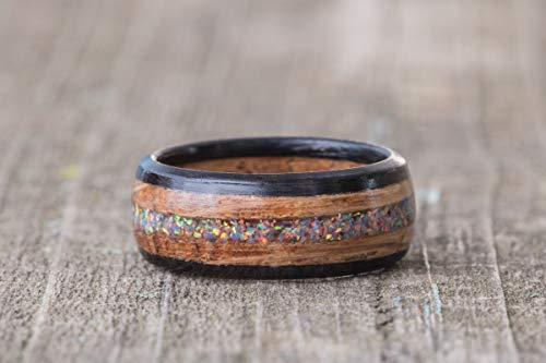 Whiskey Barrel Wood, Moonstone Opal, and Ebony Wood Ring