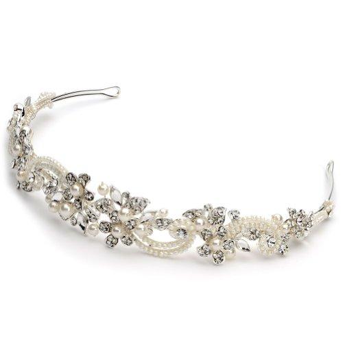 USABride Simulated Ivory Pearl & Rhinestone Bridal Floral Headband 3156