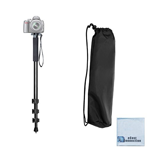 Pro Series 72″ Monopod w/ Quick Release For Canon, Nikon, Sony, Samsung, Olympus, Fujifilm, Panasonic & Pentax + eCostConnection Microfiber Cloth
