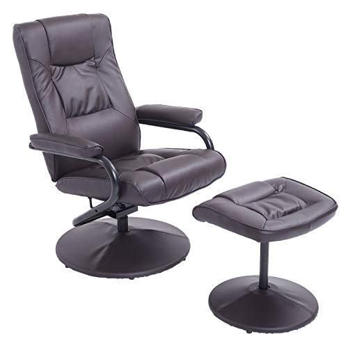 Recliner Chair Swivel Armchair Lounge Seat w/Footrest Stool Ottoman Home Office Brown
