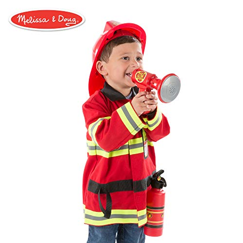 "Melissa & Doug Fire Chief Role Play Costume Set, Pretend Play, Frustration-Free Packaging, Bright Red, 6 Pieces, 17.5"" H x 24"" W x 2"" L"