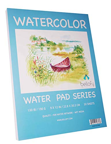 Bellofy 50 Sheet Watercolor Paper Pad - 130 IB / 190 GSM Weight - 9x12...