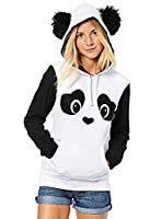 ZXZY Women Cute Cotton Blend Long Sleeve Panda Print Hoodies Pullover Tops