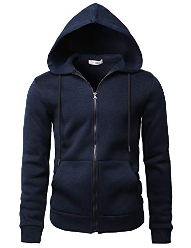 H2H Mens Casual Slim Fit Hoodie Zip-Up Long Sleeve Active Jackets