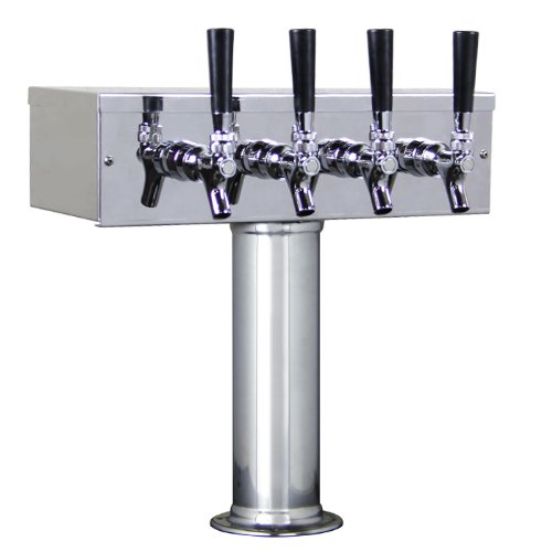 KegWorks BF TTOW-4F-SS-2 Stainless Steel 4 Tap - Draft Beer Kegerator T-Tower