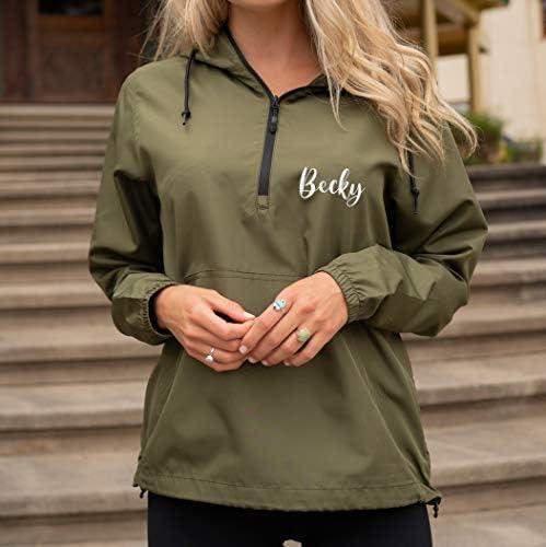 Custom Embroidered Windbreaker Half-Zip Jacket for Men Women Personalized Embroidery Rain Jacket